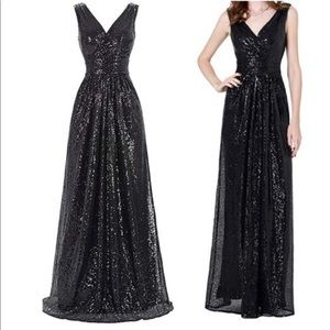 Black sequin formal prom bridesmaids gown dress
